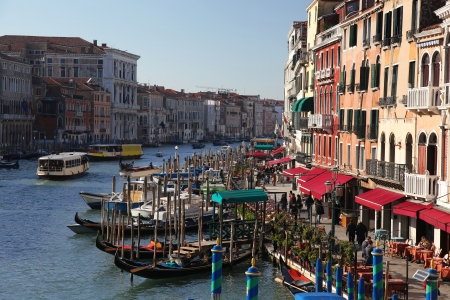 Grand canal with gondolas in Venice, Italy photo