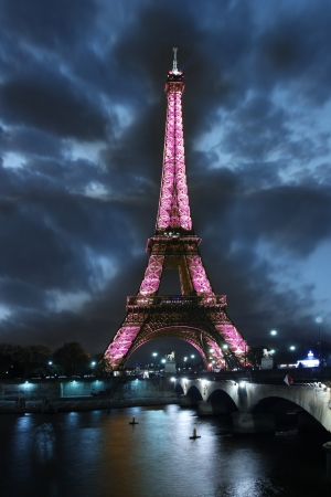 Eiffel tower at night in Paris, France Editorial