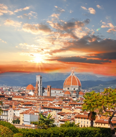 Florence Cathedral against colorful sunset in Italy
