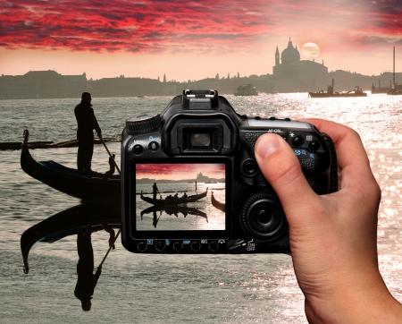 venice italy: Sunset in Venice, Italy Stock Photo