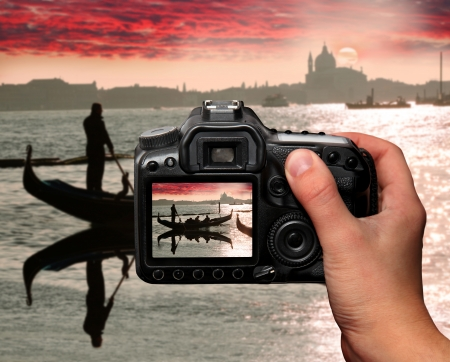 video camera: Sunset in Venice, Italy Stock Photo
