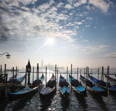 venezia: Venice with gondolas on Grand Canal against San Giorgio Maggiore church