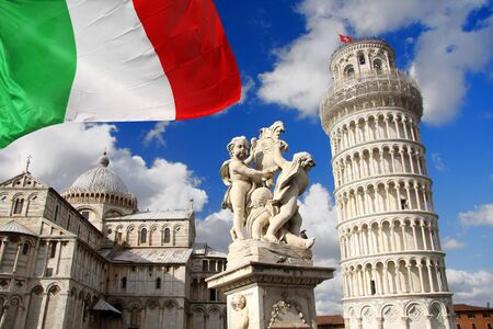 medici: Pisa, Famous Leaning Tower with clouds in Italy Stock Photo