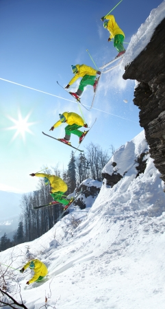 The whole jump of Skier from high rock