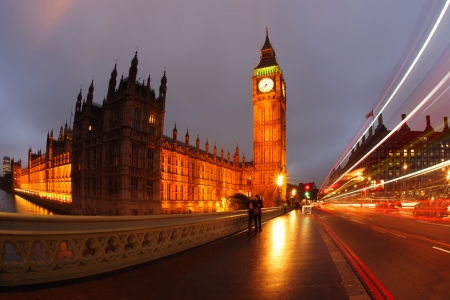 Famous Big Ben in the evening with bridge, London, England photo