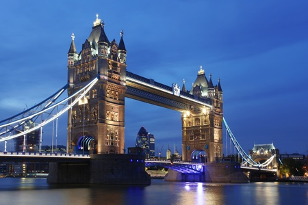 london city: Famous Tower Bridge in the evening, London, England