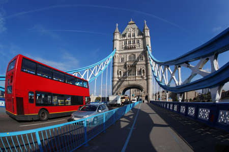 london bridge: Tower Bridge with red bus in London, England Stock Photo