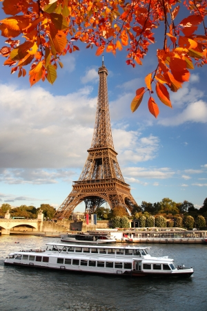 Eiffel tower against autumn tree in Paris, France