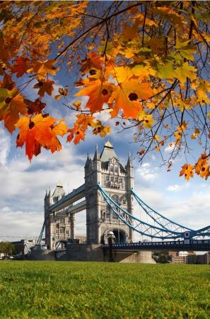 bandera inglaterra: Famoso puente de la torre en oto�o, Londres, Inglaterra