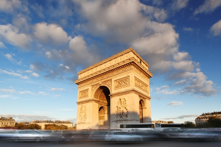 triumphal: Famous Arc de Triomphe in Paris, France