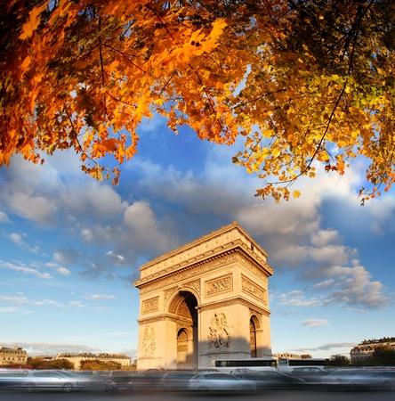 Famous Arc de Triomphe in autumn, Paris, France Stock Photo - 16430633
