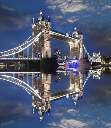 stone bridge: Famous Tower Bridge in the evening, London, England