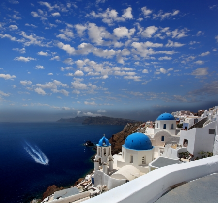 Santorini with Oia village, churches and sea-view  Stock Photo