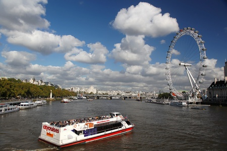 London Eye with boat in England