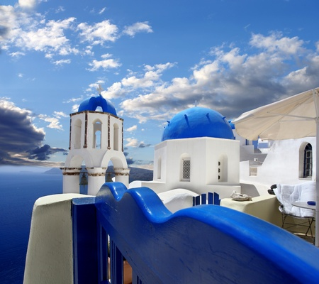 Amazing Santorini with churches and sea view in Greece Stock Photo - 17559848