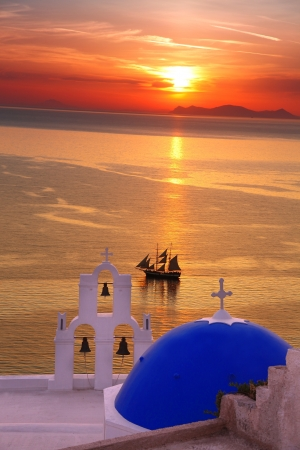Amazing Santorini with church and sea view in Greece photo
