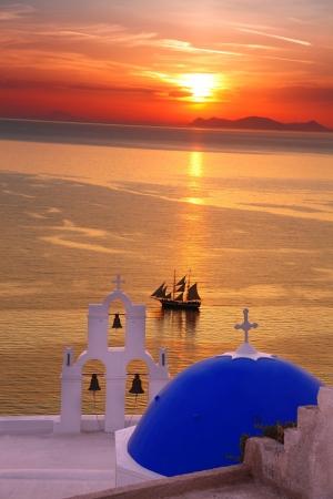 santorini caldera: Amazing Santorini with church and sea view in Greece