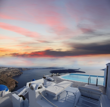 Luxury resort swimming pool in Santorini, Greece Editorial