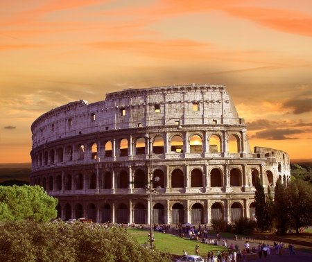architectural heritage of the world: Famous Colosseum in  Rome, Italy Stock Photo