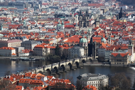 Prague with famous Charles Bridge in Czech Republic photo
