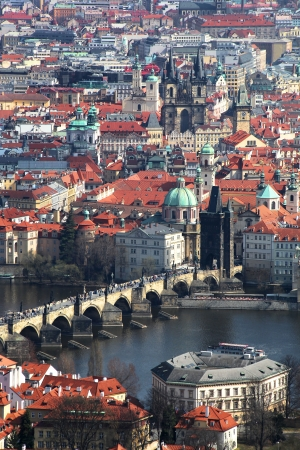 praha: Prague with famous Charles Bridge in Czech Republic Stock Photo