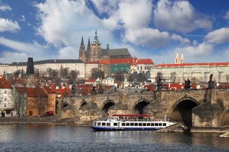 prague: Prague Castle with famous Charles Bridge in Czech Republic