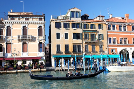 tilt shift: Venice with gondola on Grand canal in Italy