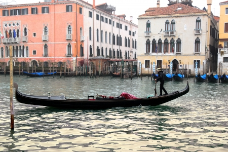 Venice with gondola on Grand canal in Italy