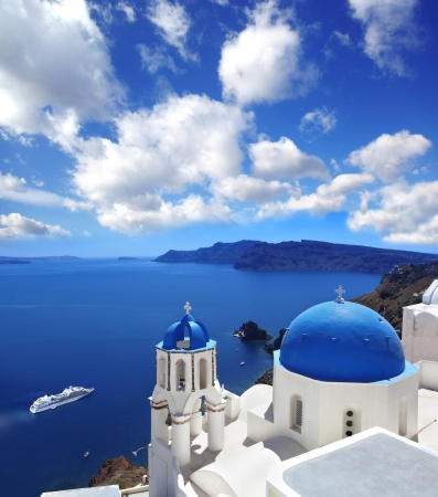 Amazing Santorini with churches and sea view in Greece Stock Photo - 18105725