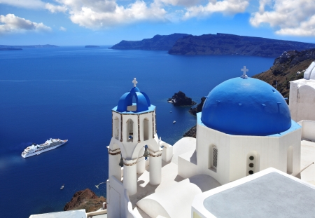 Amazing Santorini with churches and sea view in Greece Stock Photo - 18105715
