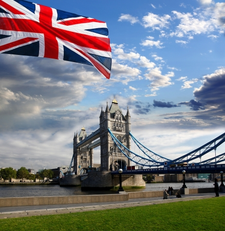 Tower Bridge with flag of England in London Stock Photo - 18333541