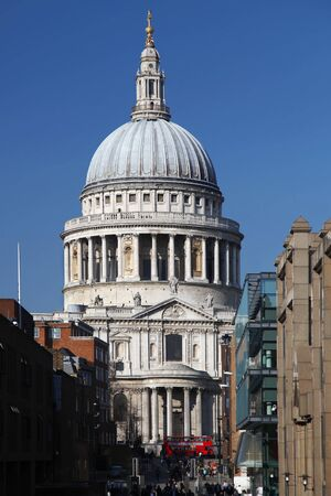 st paul s cathedral: St  Paul s Cathedral with  red double-decker in London, England Stock Photo