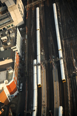 London transportation with trains, England photo