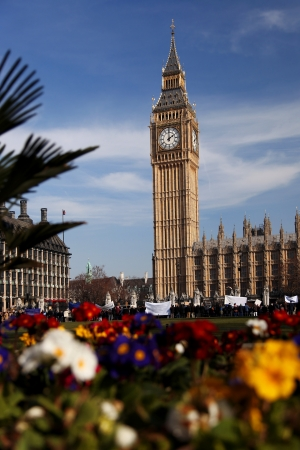 Big Ben with flowers in London, UK Stock Photo - 18852502