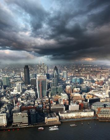 Modern London cityscape with boats, LONDON, UK