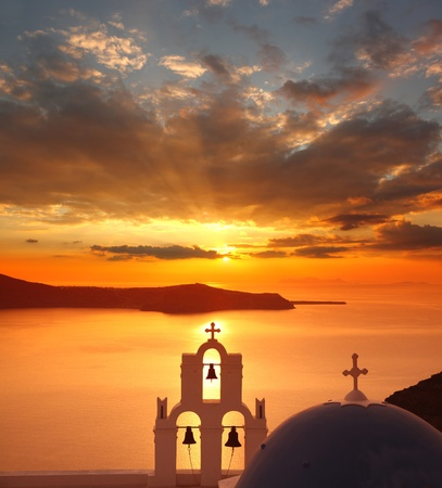 Santorini with churches and sea view in Greece photo