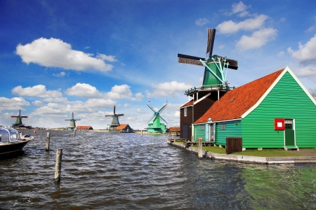 Traditional Dutch windmills with canal close the Amsterdam, Holland Stock Photo