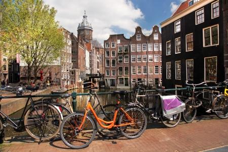 Amsterdam with bikes on the bridge, Holland