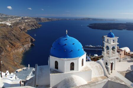 thira: Thira town in Santorini island, Greece