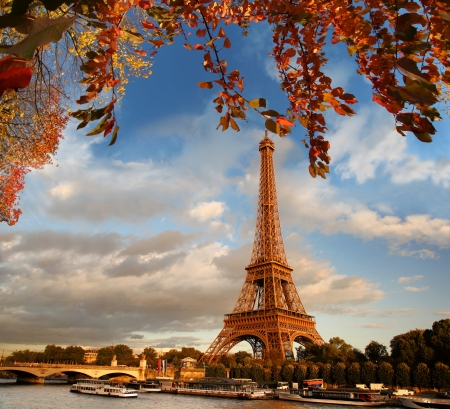 seine: Eiffel Tower in autumn, Paris, France Stock Photo