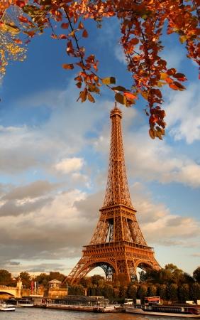 Eiffel Tower in autumn, Paris, France Stock Photo