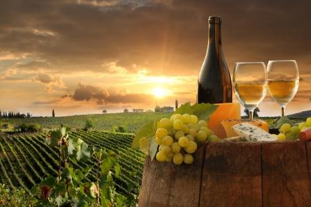 cave: Vin blanc avec canon sur vignoble in Chianti, en Toscane, Italie Banque d'images