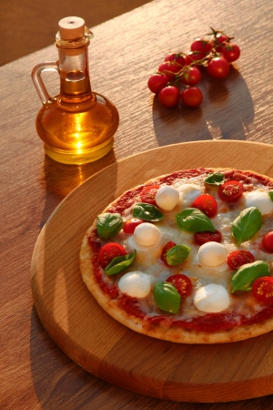 Traditional Italian pizza with tricolor  photo