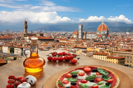 italy food: Florence with Cathedral and typical Italian pizza in Tuscany, Italy Stock Photo