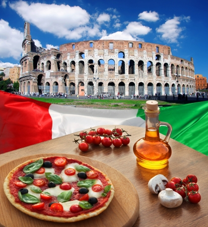 Colosseum in Rome with traditional pizza in Italy photo