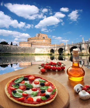 Rome, Saint Angelo Castle with Italian pizza in Italy