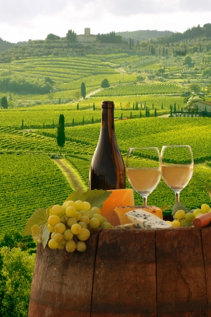 florence italy: White wine with barrel on vineyard in Chianti, Tuscany, Italy