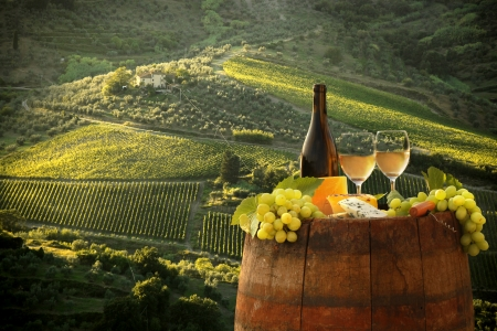vitamin bottle: White wine with barrel on vineyard in Chianti, Tuscany, Italy