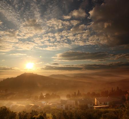 tuscany landscape: Foggy morning in Carmignano, Tuscany landscape in Italy