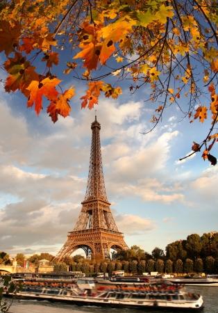 francia: Torre Eiffel con las hojas de oto�o en Par�s, Francia